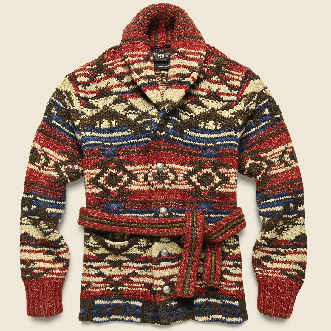 RRL Hand-Knit Ranch Cardigan - Red/Navy/Cream