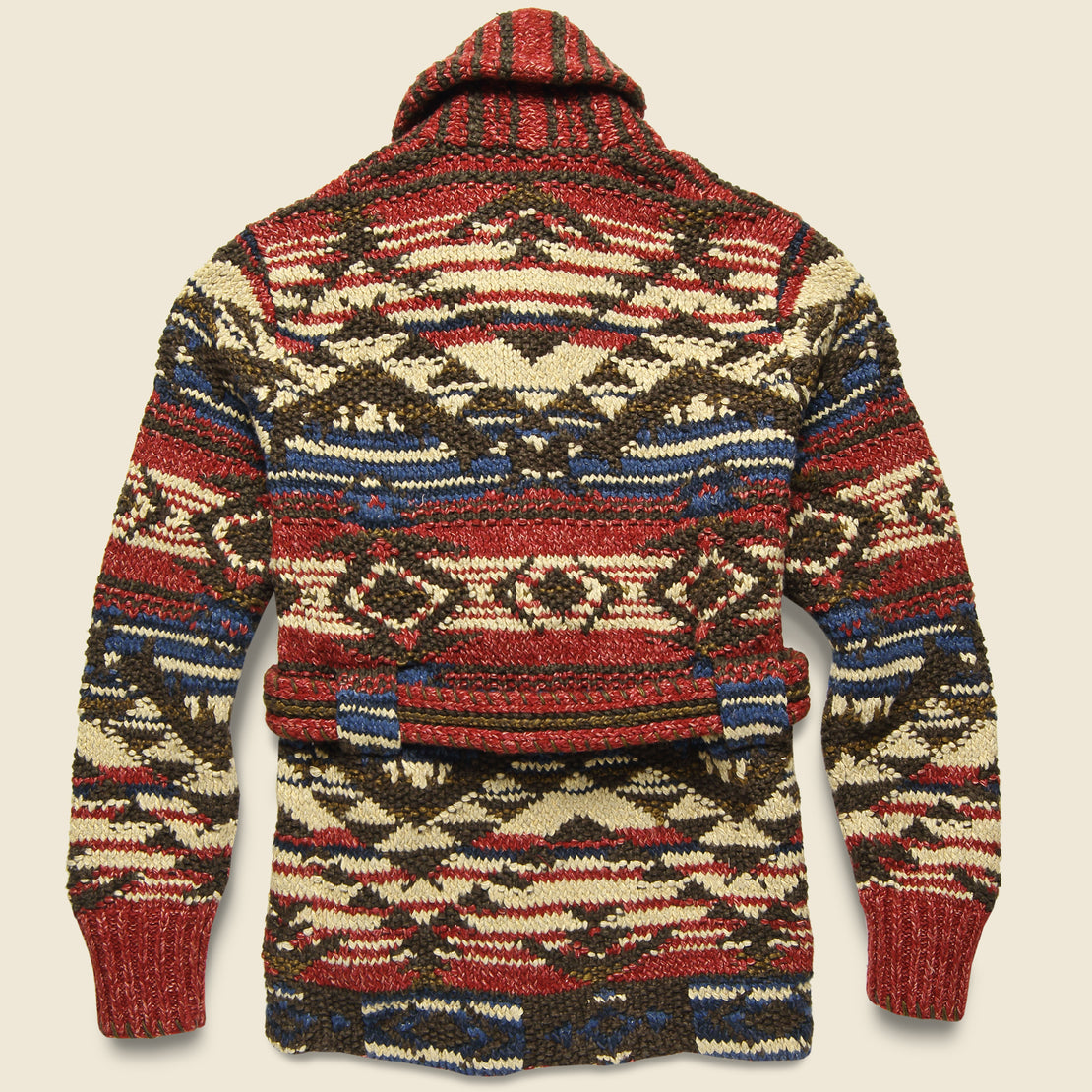 Hand-Knit Ranch Cardigan - Red/Navy/Cream