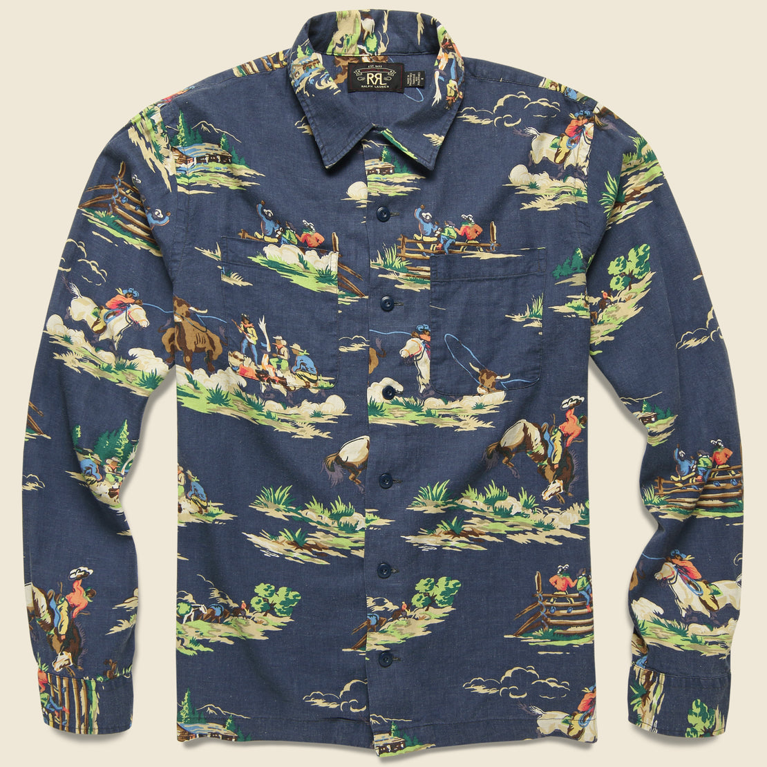 RRL Western Print Towns Camp Shirt - Navy Multi