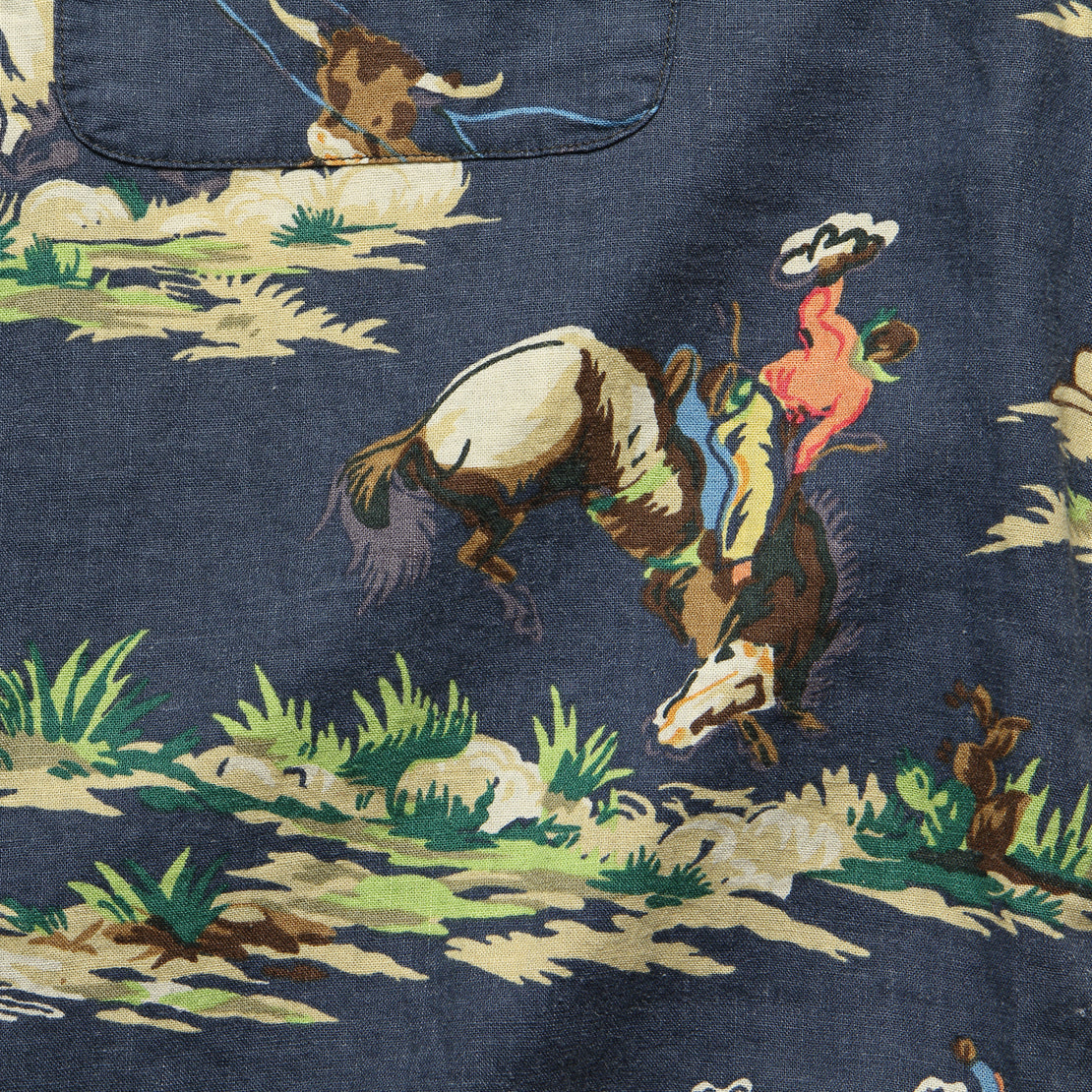 Western Print Towns Camp Shirt - Navy Multi