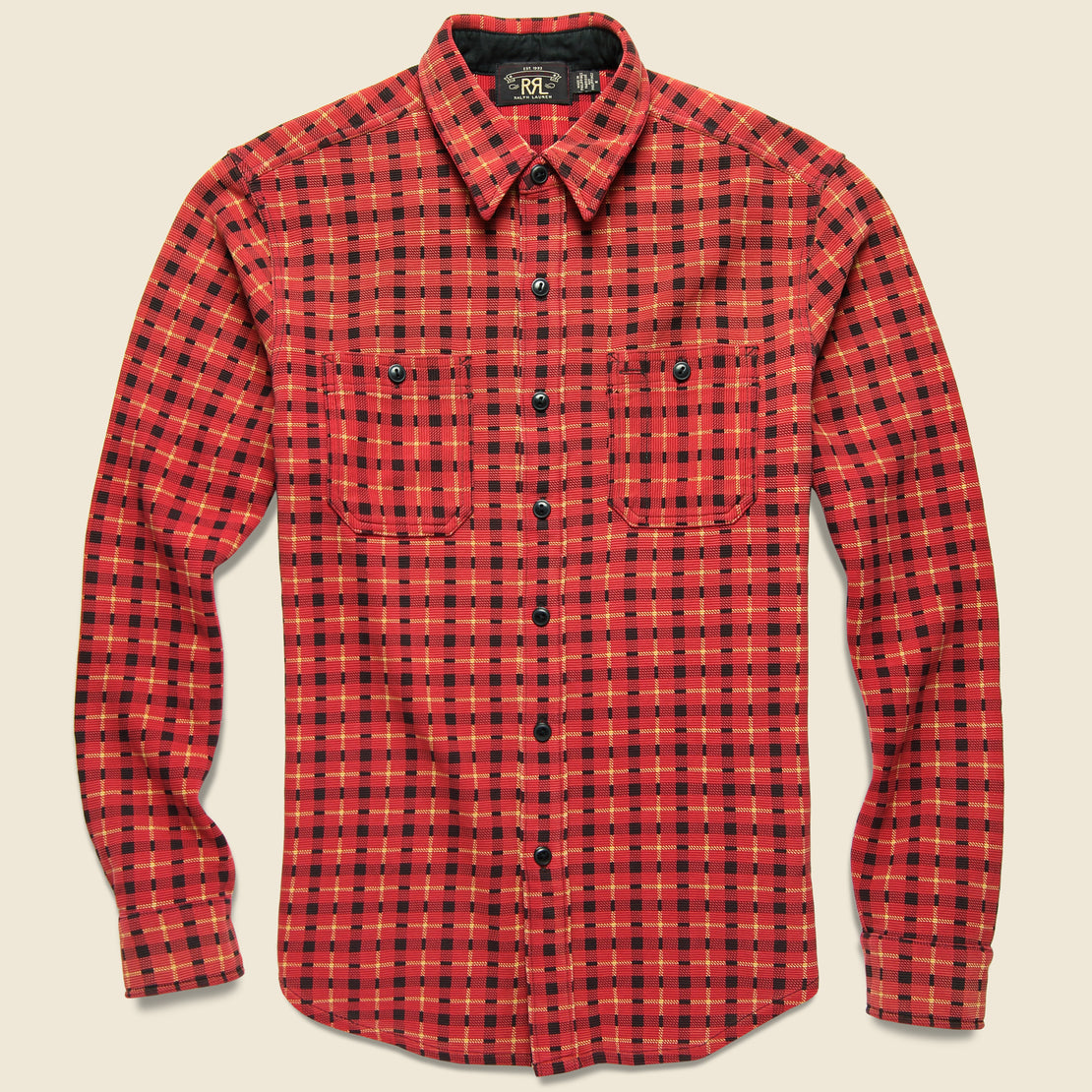 RRL Ottoman Knit Workshirt - Red/Gold/Black Plaid