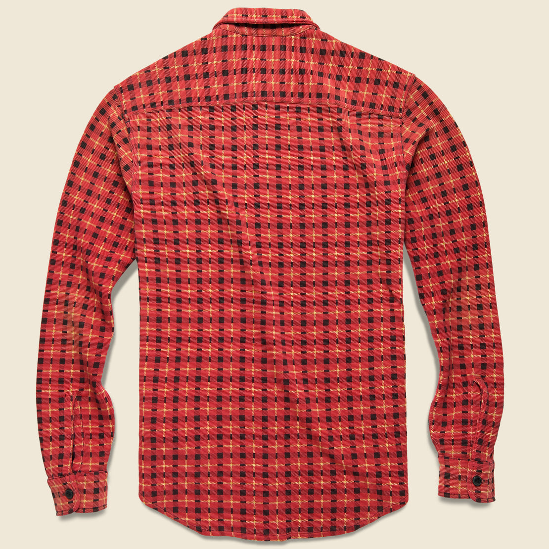 Ottoman Knit Workshirt - Red/Gold/Black Plaid
