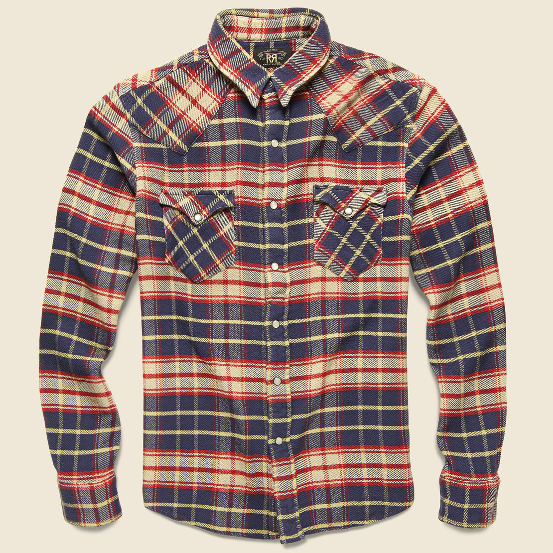 RRL Chunky Buffalo Western - Navy/Red Plaid