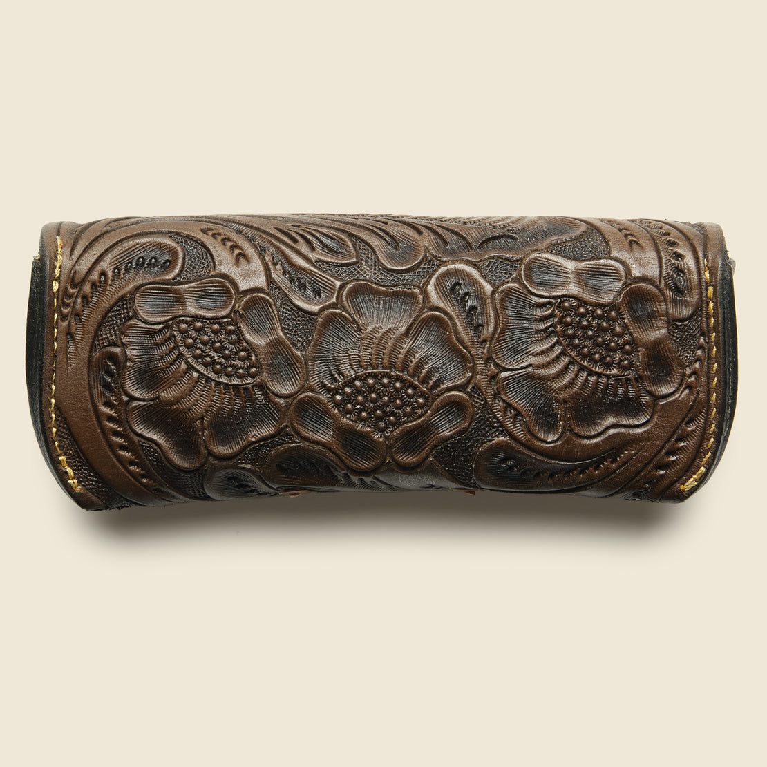 Hand-Tooled Eyeglass Case - Brown