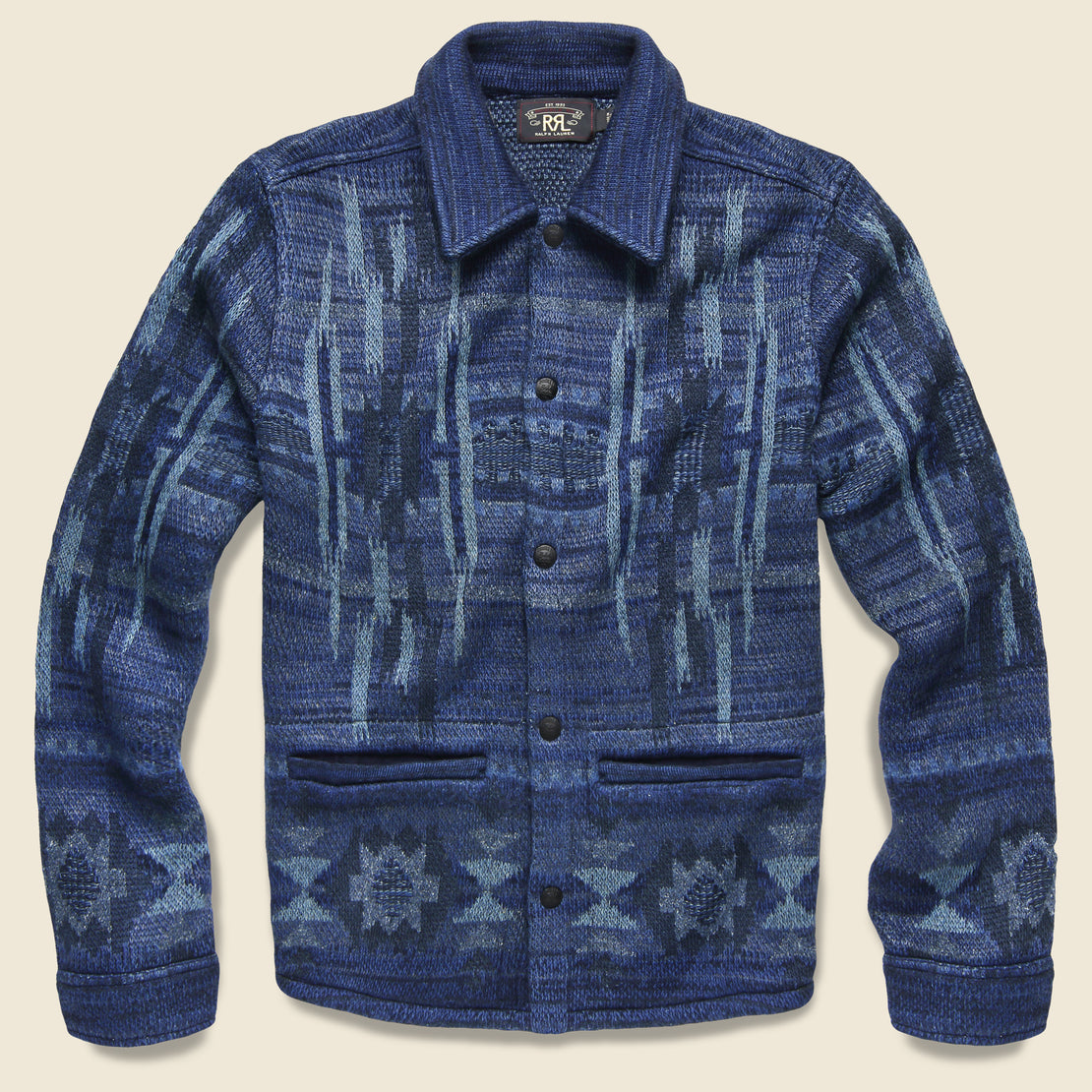 RRL Chimayo Birdseye Jacquard Workshirt Sweater - Indigo