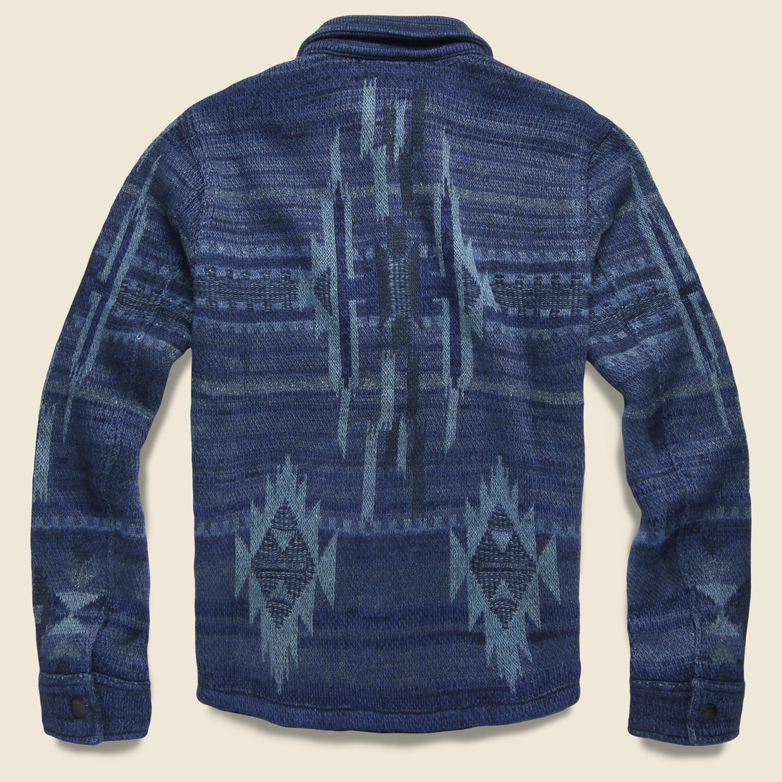 Chimayo Birdseye Jacquard Workshirt Sweater - Indigo