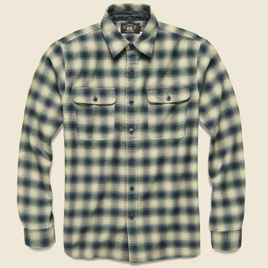 RRL Brushed Ombre Plaid Matlock Workshirt - Cream/Grey