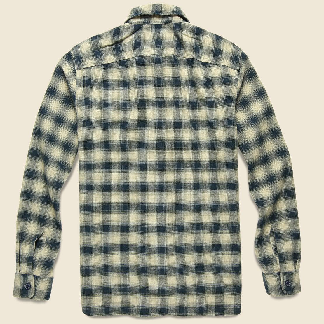 Brushed Ombre Plaid Matlock Workshirt - Cream/Grey