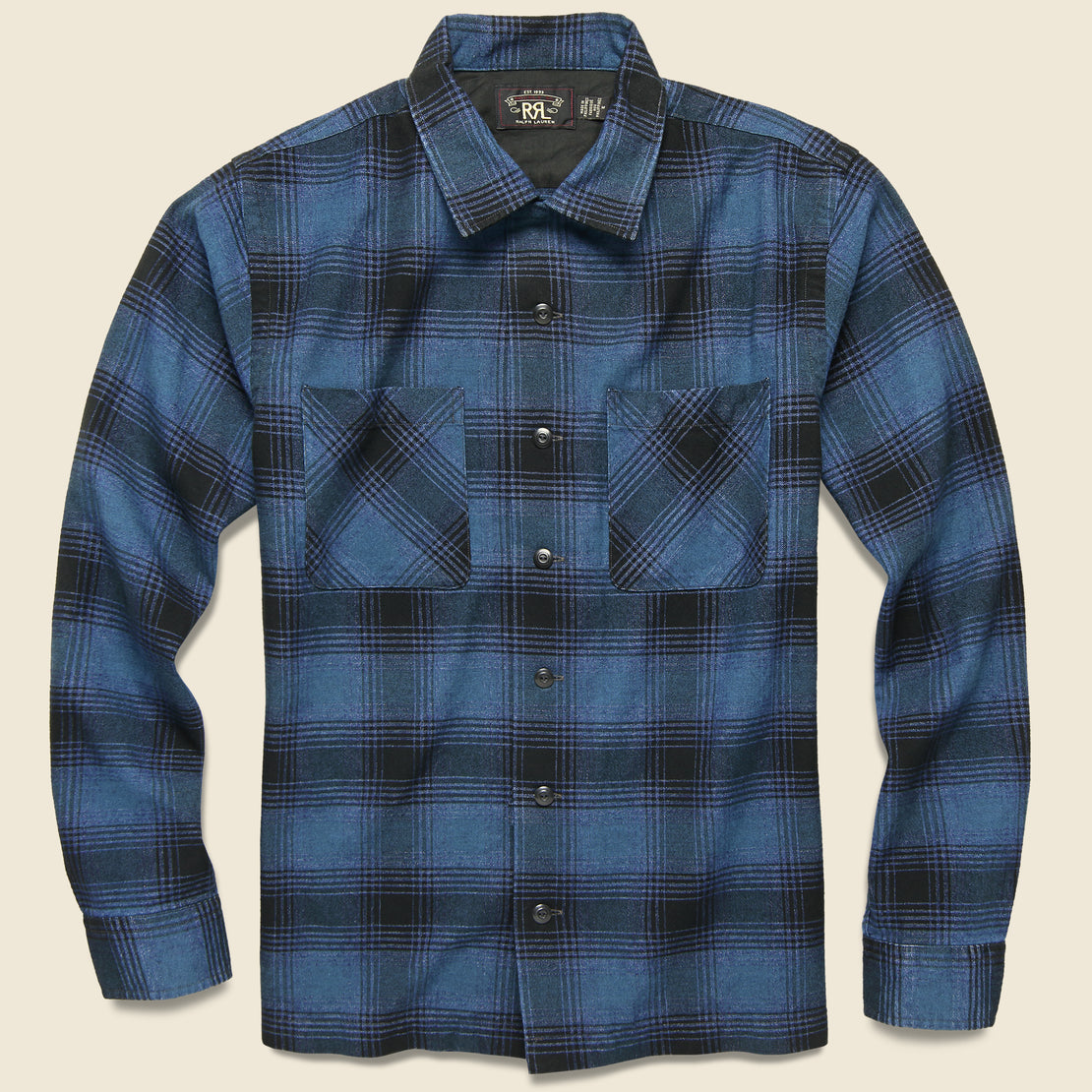 RRL Brushed Towns Camp Shirt - Indigo/Black Ombré Plaid