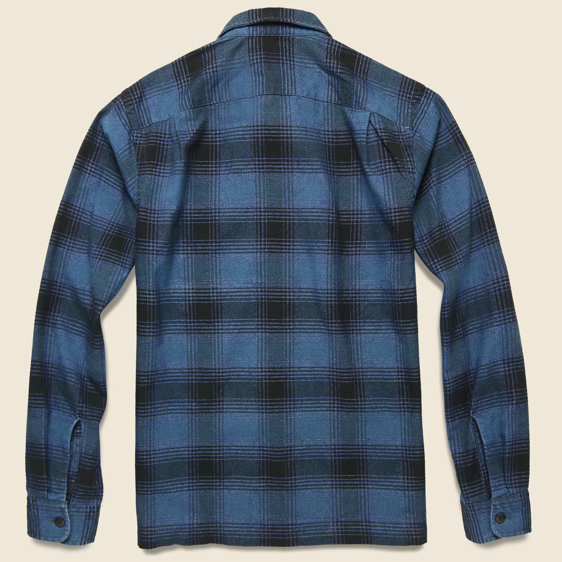 Brushed Ombre Plaid Towns Camp Shirt - Indigo/Black