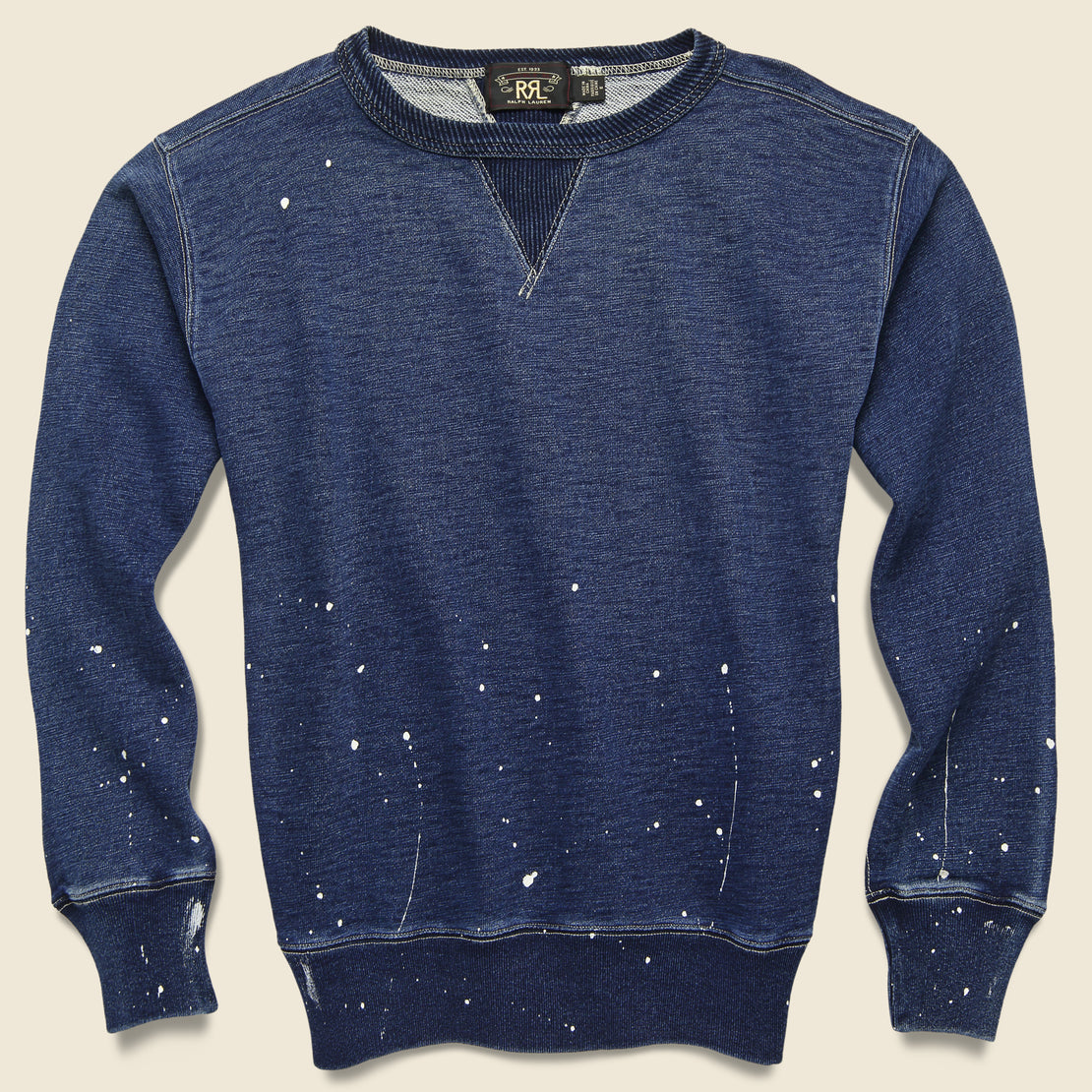 RRL Distressed Double V Crewneck - Washed Blue Indigo