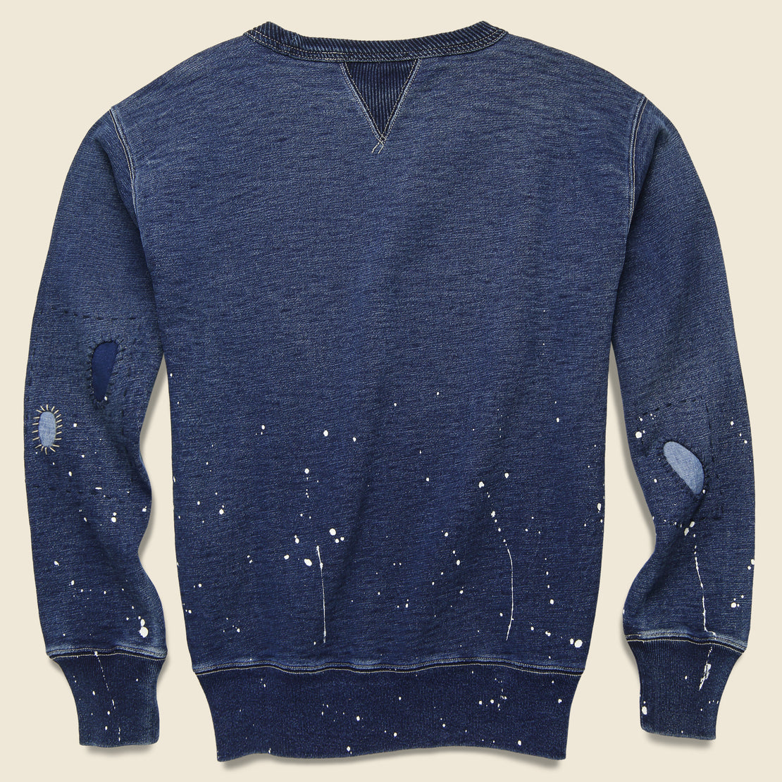 Distressed Double V Crewneck - Washed Blue Indigo