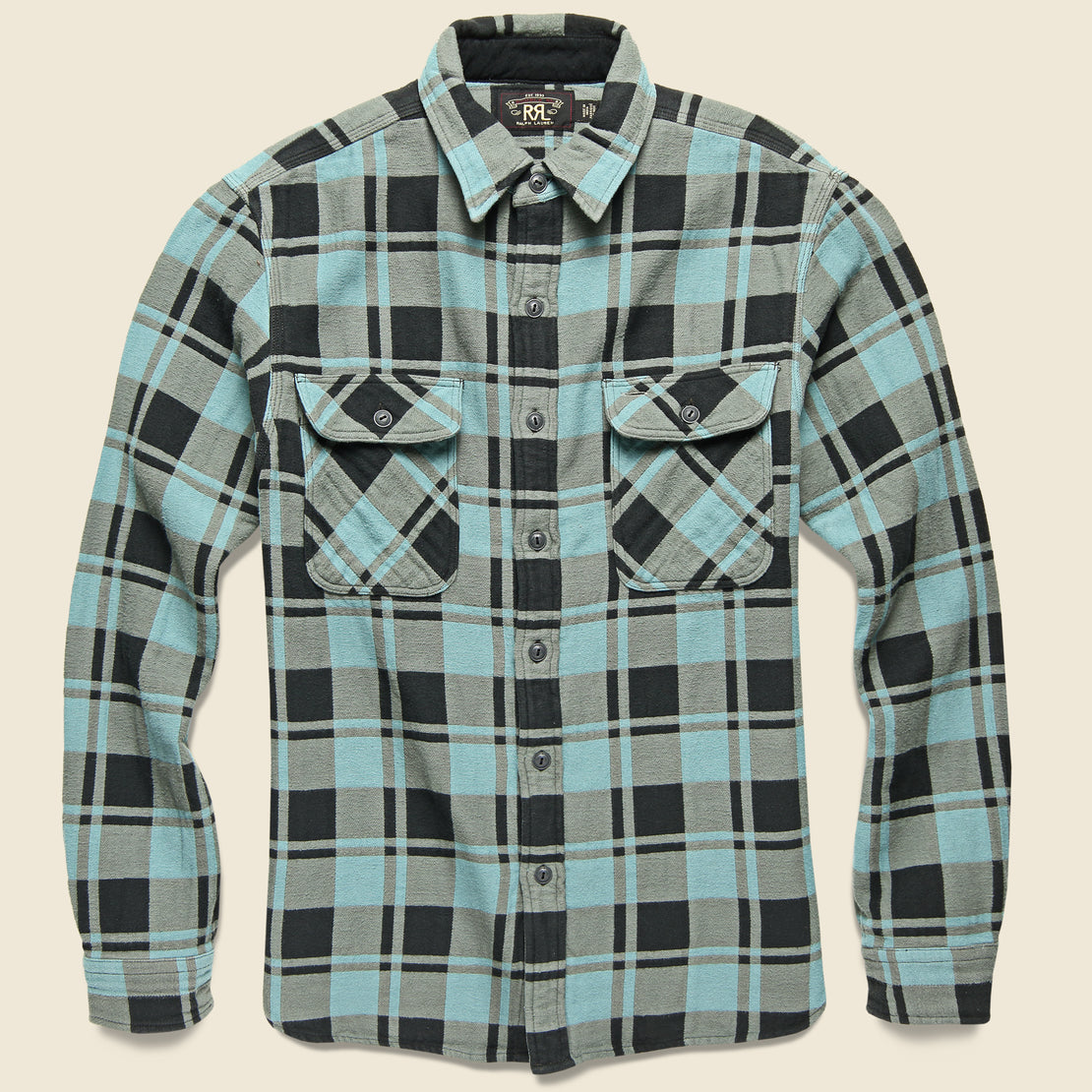 RRL Plaid Jacquard Flannel Workshirt - Turquoise/Sulphur