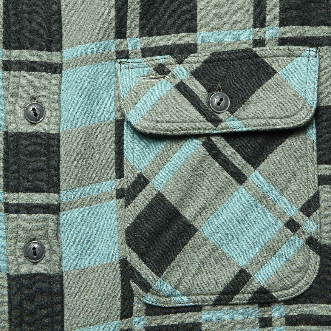 Plaid Jacquard Flannel Workshirt - Turquoise/Sulphur