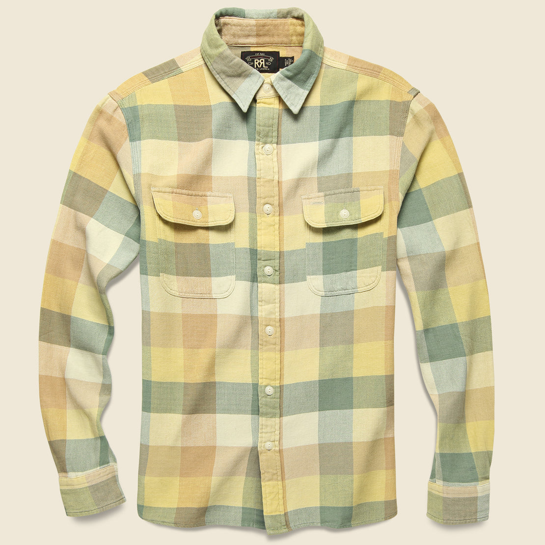 RRL Matlock Twill Workshirt - Yellow/Green