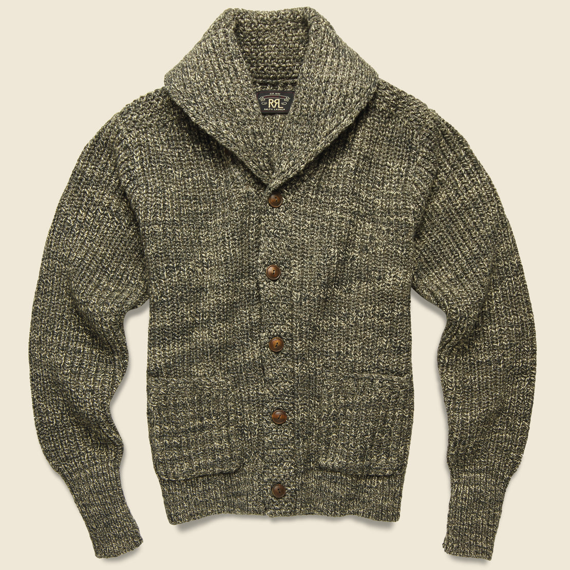 RRL Shawl Collar Cardigan - Olive/Tan
