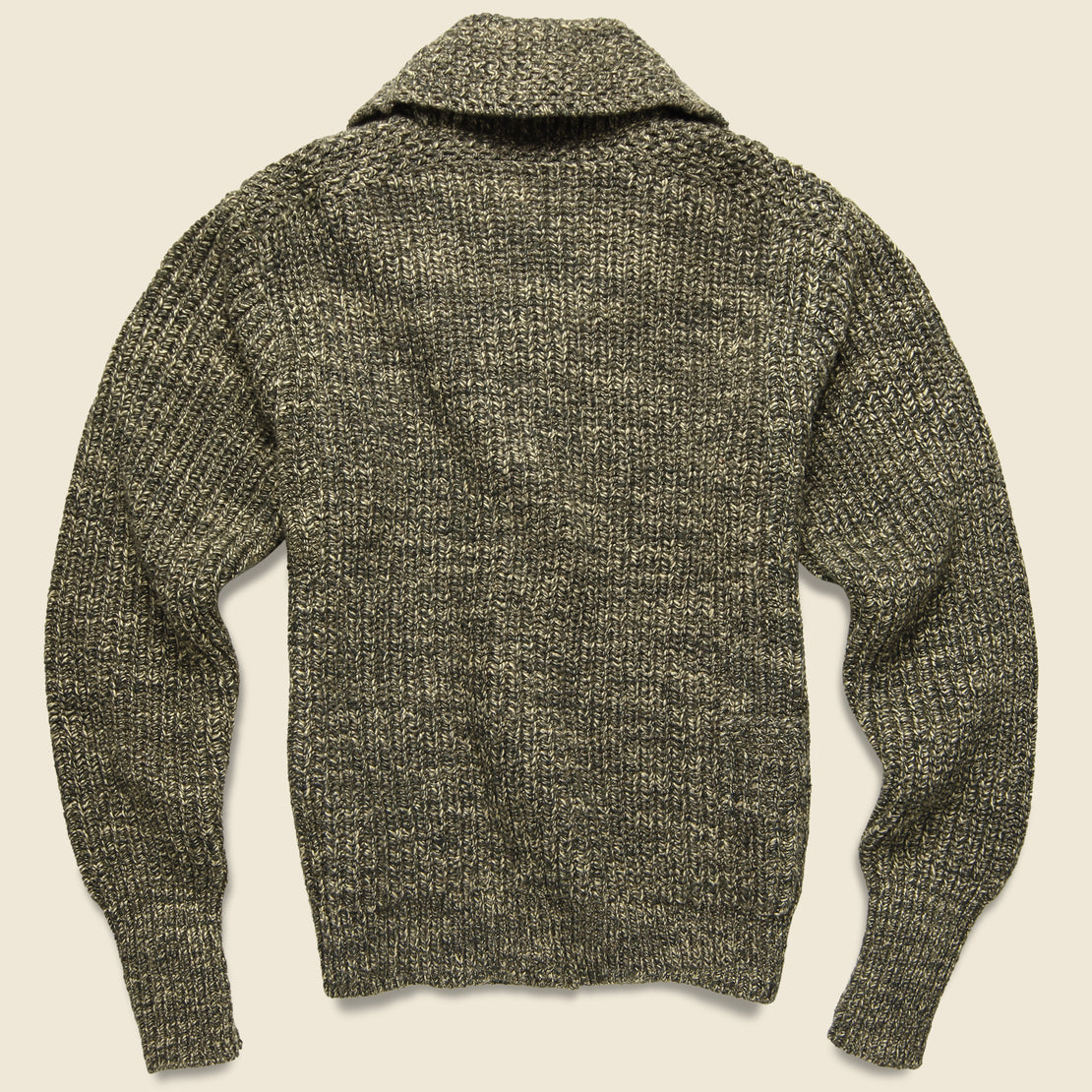 Shawl Collar Cardigan - Olive/Tan
