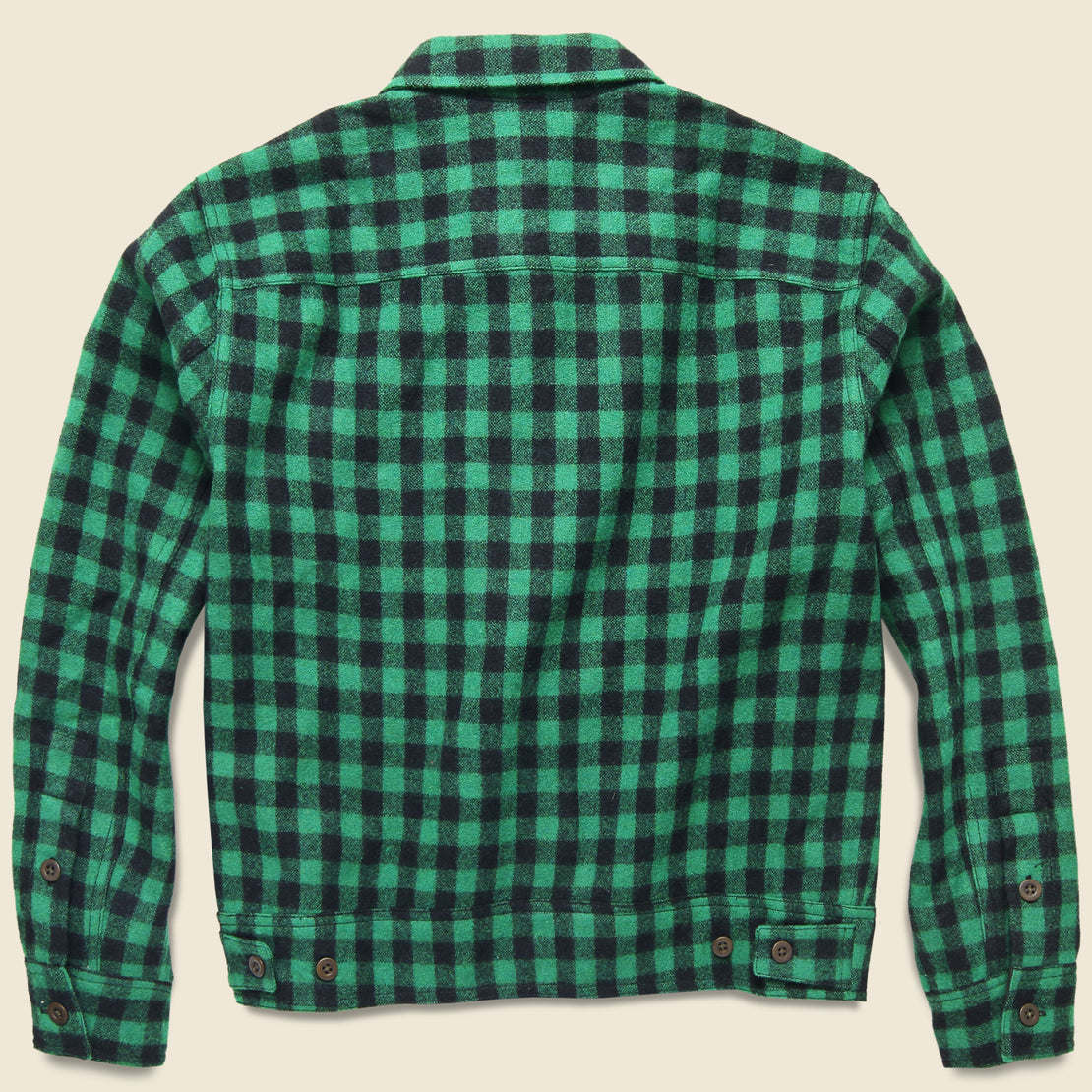 Strongbuilt Wool Check Overshirt - Green/Black