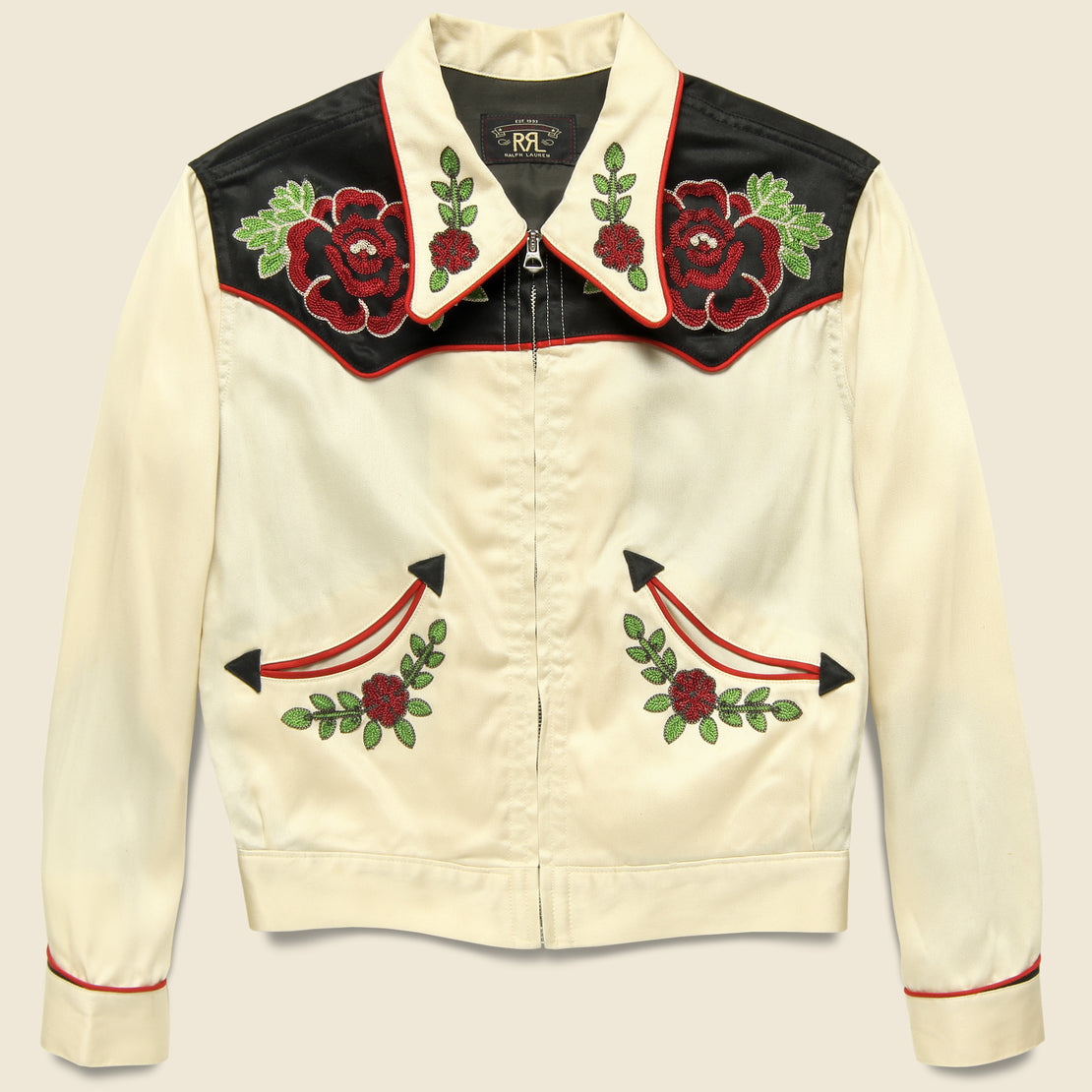 RRL Embroidered Western Jacket - Black/Red/Cream