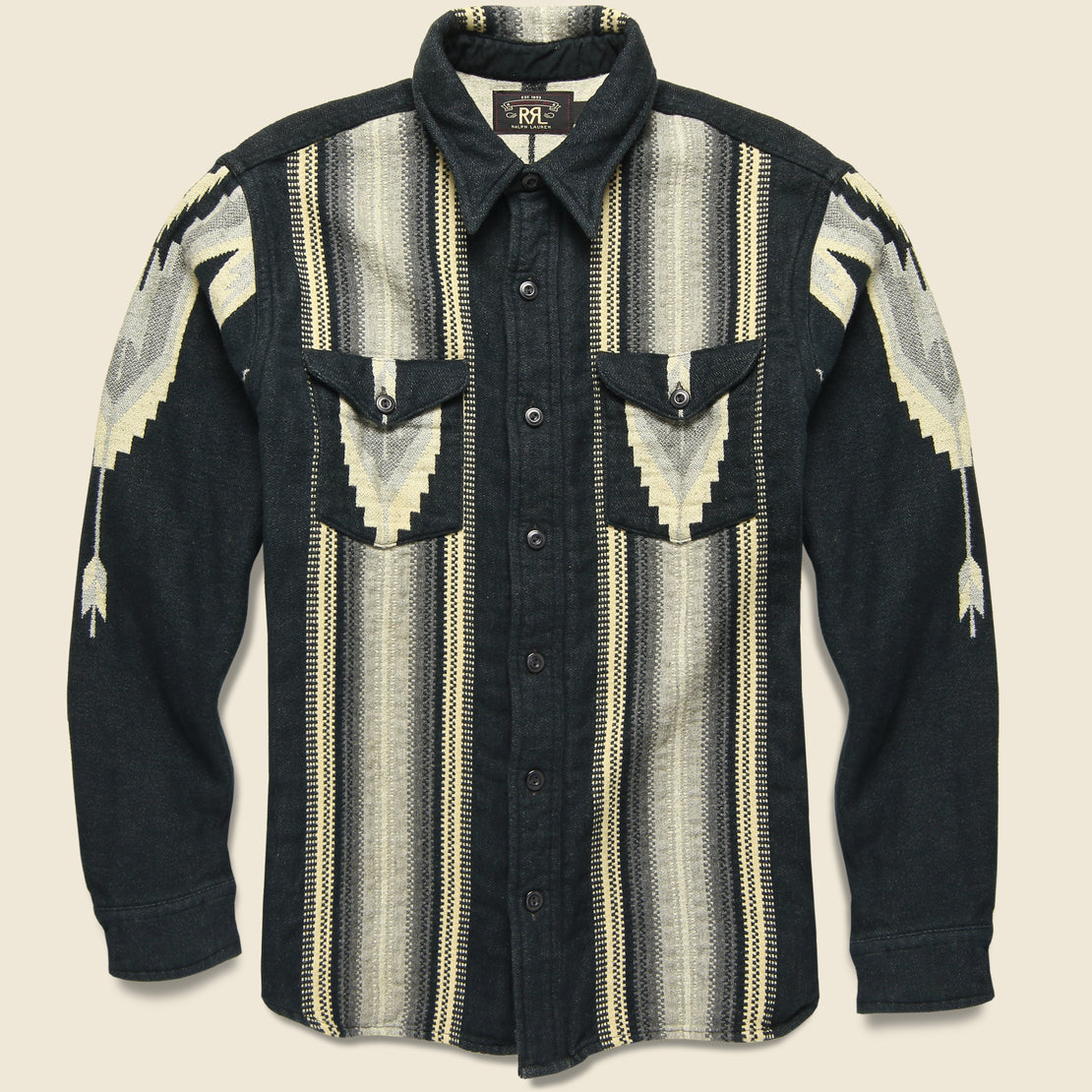 RRL Southwestern Brushed Jacquard Workshirt - Grey/Black