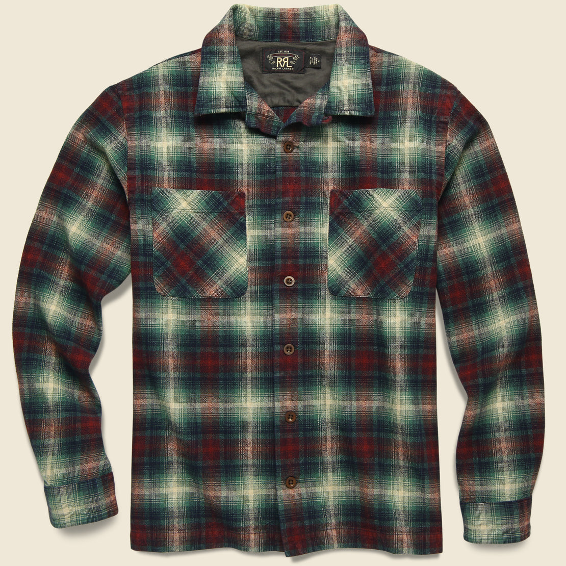 RRL Tartan Flannel Overshirt - Red/Teal