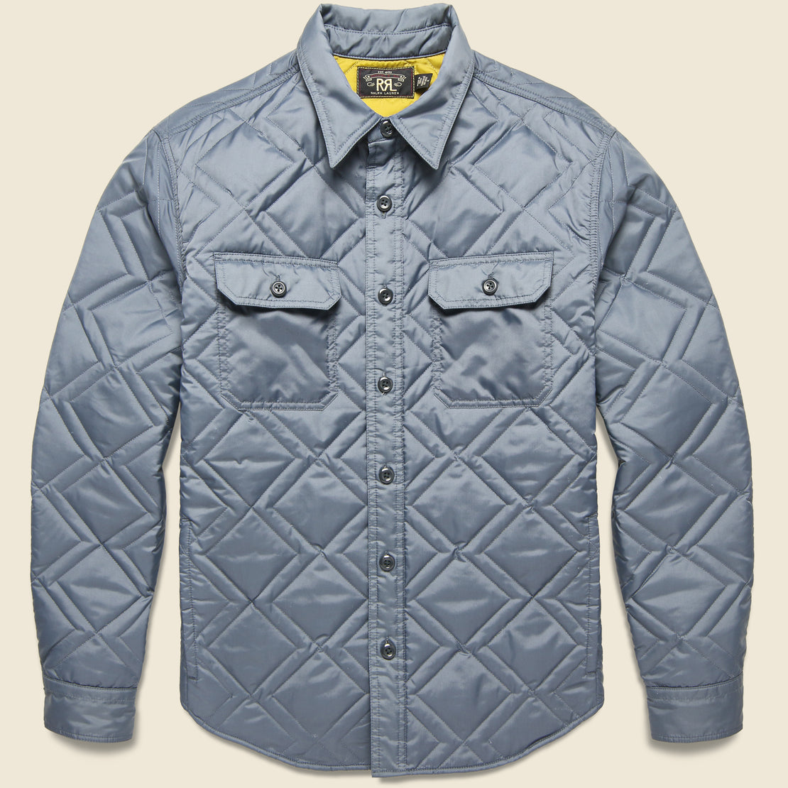 RRL Holden Quilted CPO Overshirt - Steel Blue