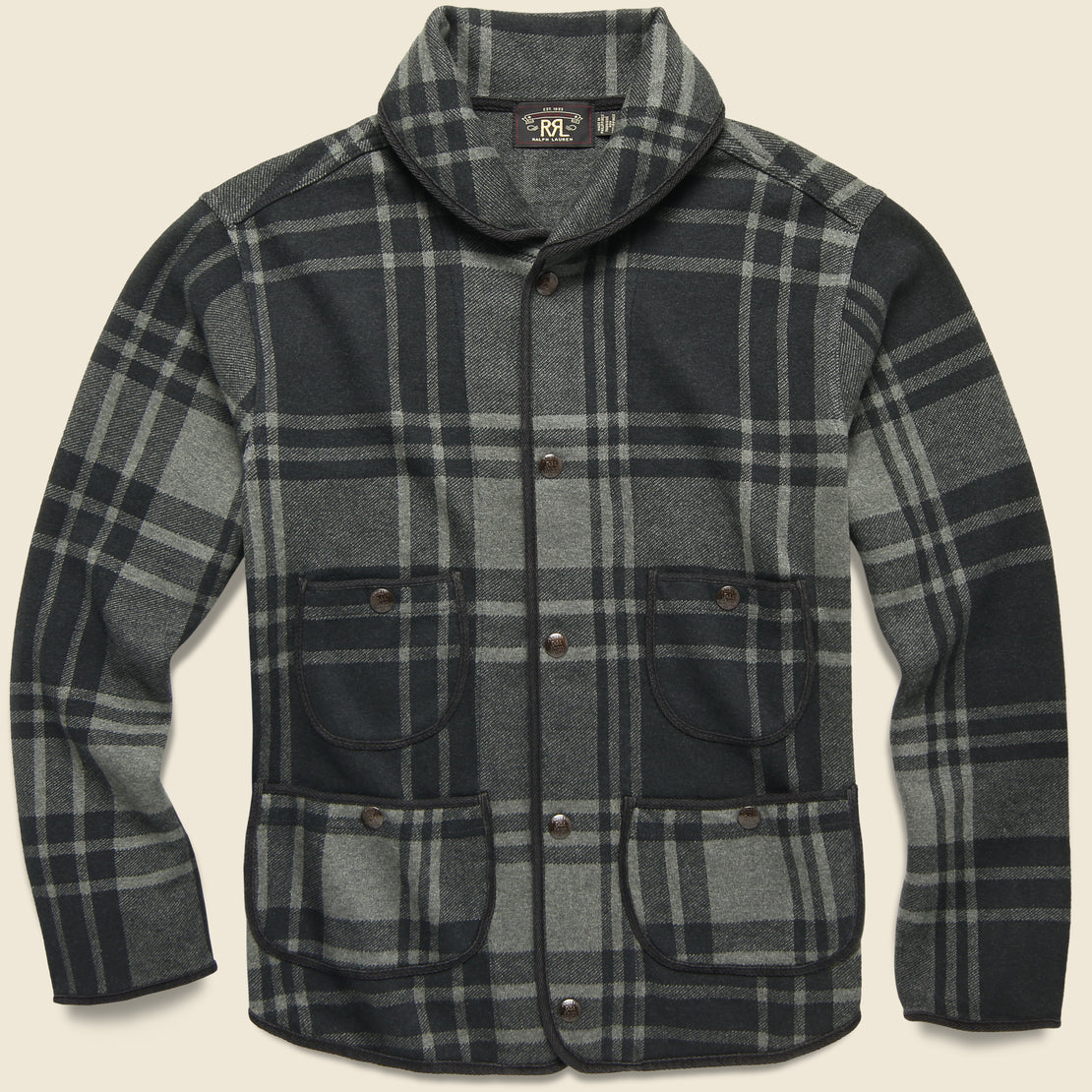 RRL Plaid Knit Jacquard Jacket - Black/Charcoal