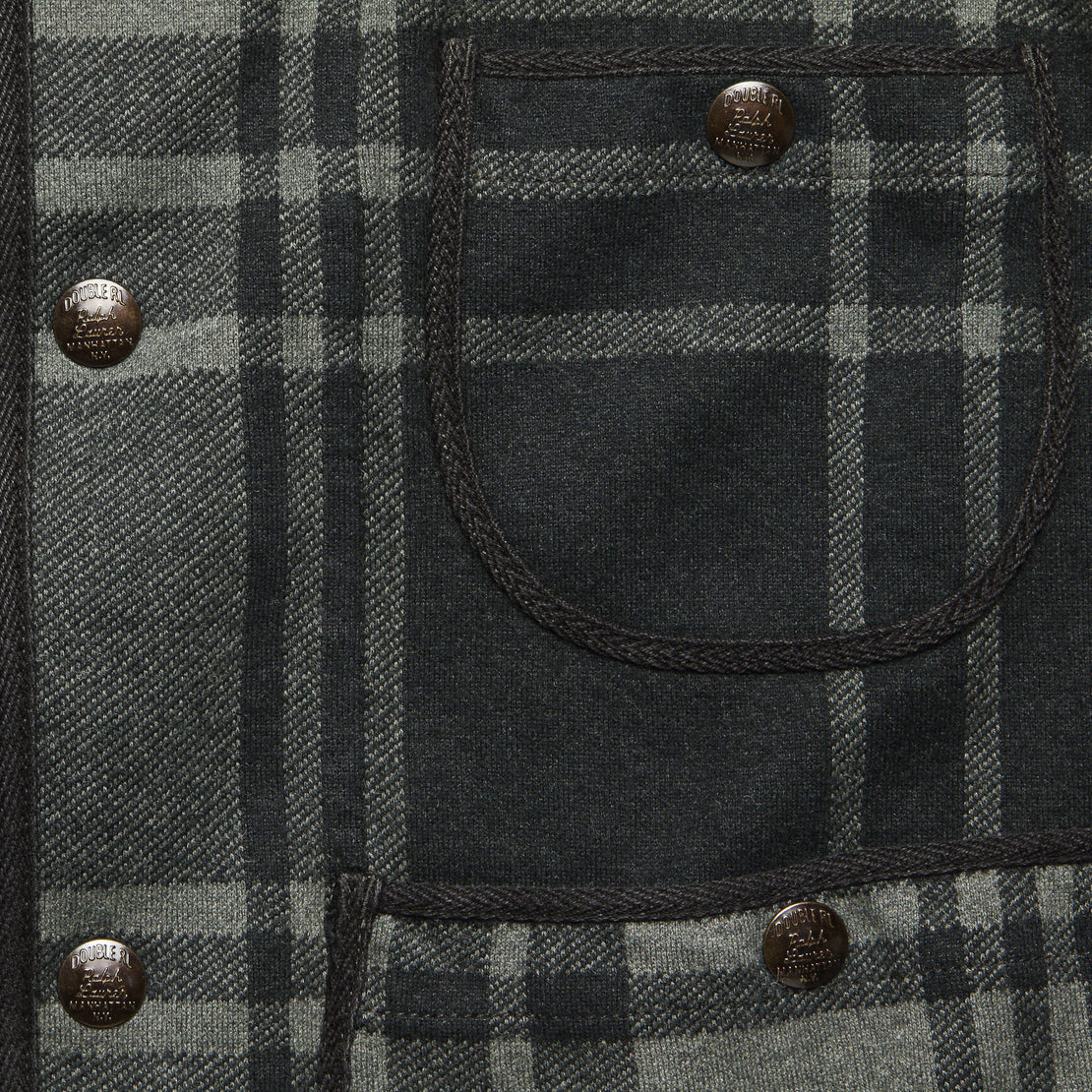 Plaid Knit Jacquard Jacket - Black/Charcoal