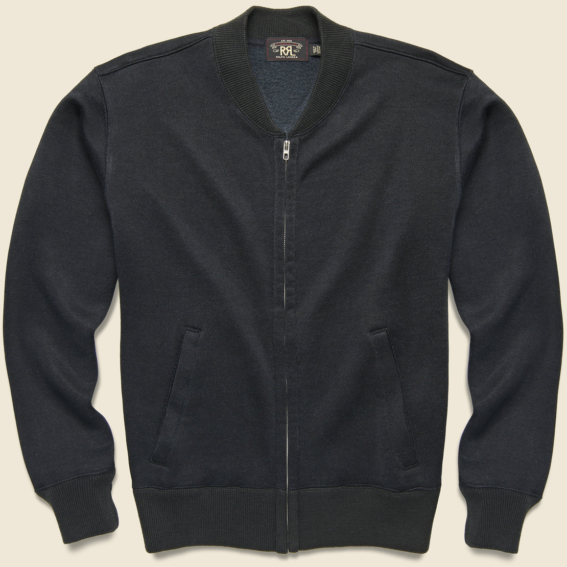 RRL Fleece Baseball Jacket - Navy