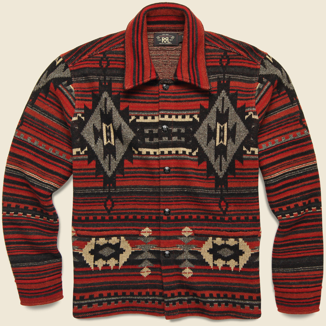 RRL Wool-Blend Jacquard Workshirt Sweater - Red/Black