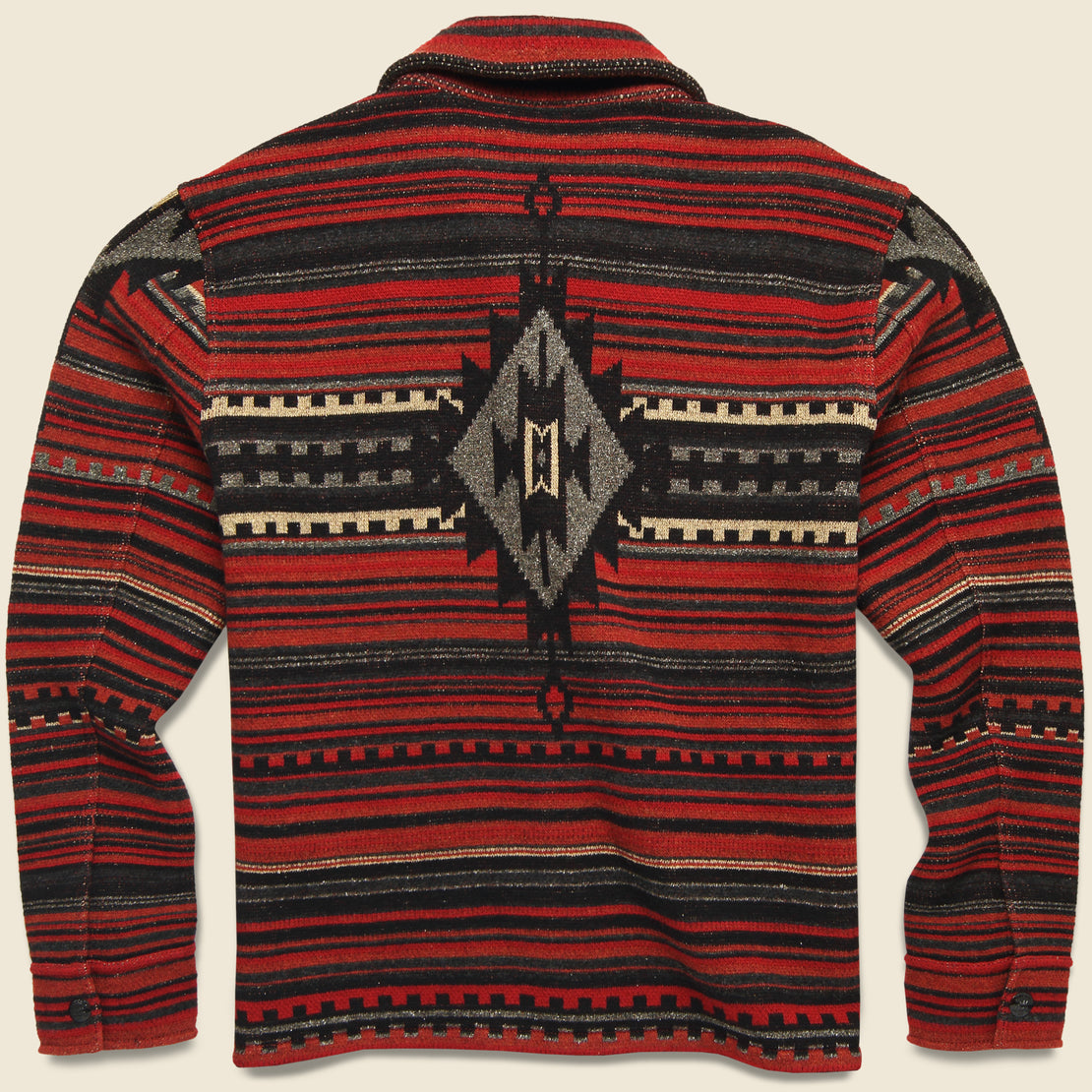 Wool-Blend Jacquard Workshirt Sweater - Red/Black