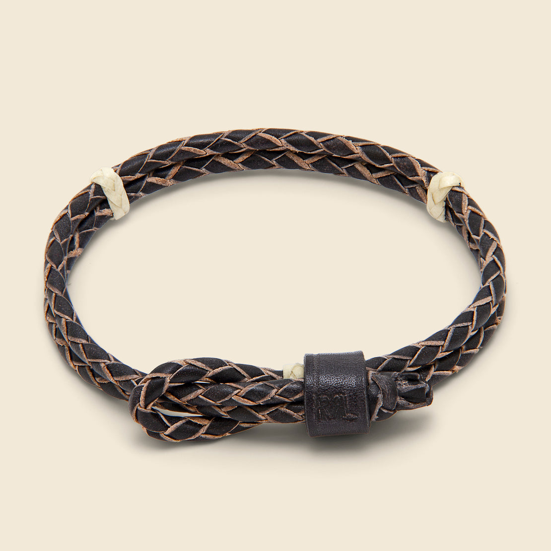 RRL Braided Leather Cuff - Black/Cream