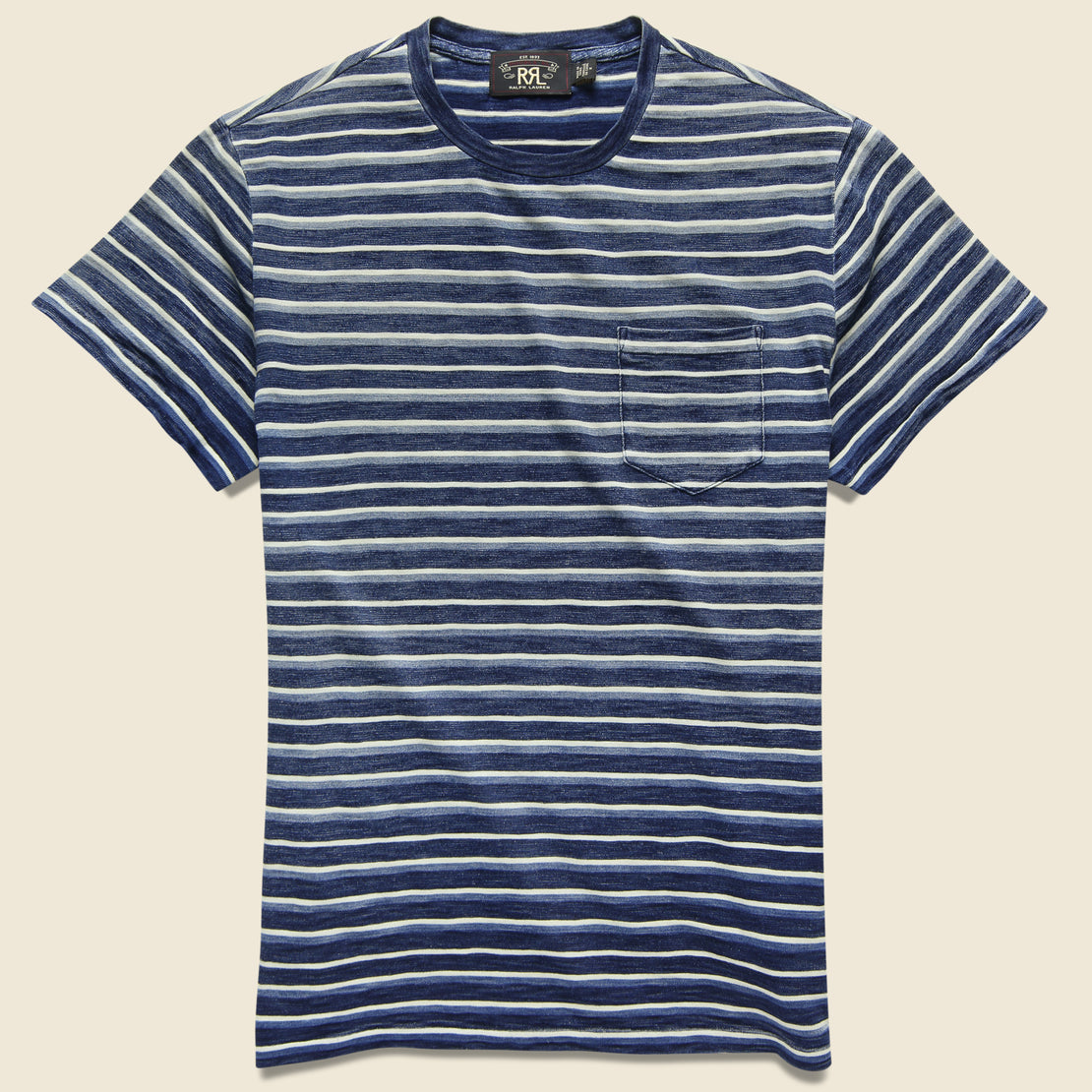 638c4e42 RRL Striped Pocket Tee - Dark Indigo Multi ...