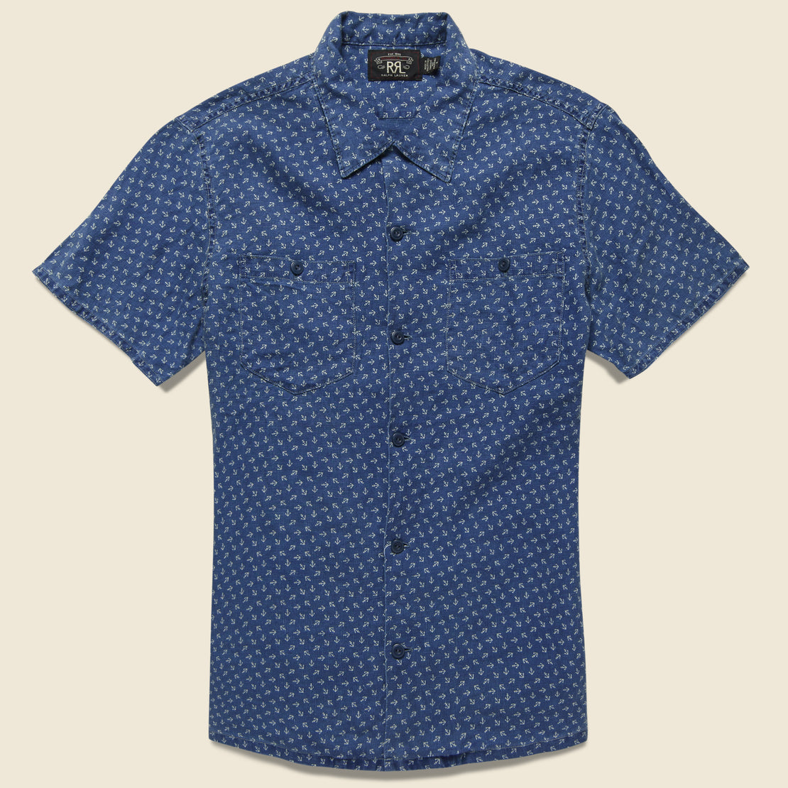 RRL Anchor-Print Linen Camp Shirt - Blue/Cream