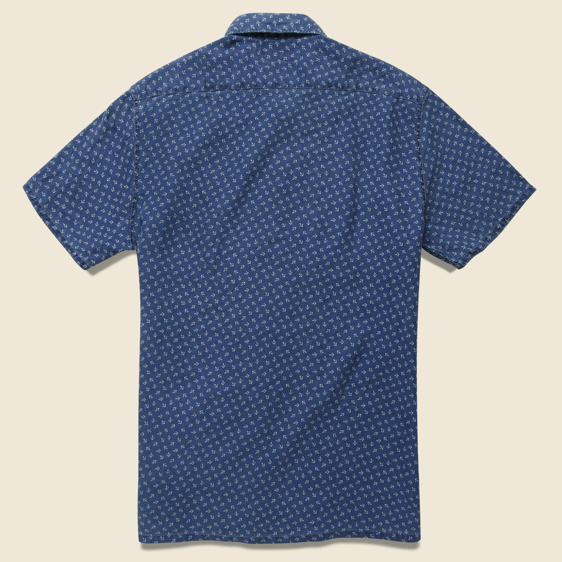 Anchor-Print Linen Camp Shirt - Blue/Cream
