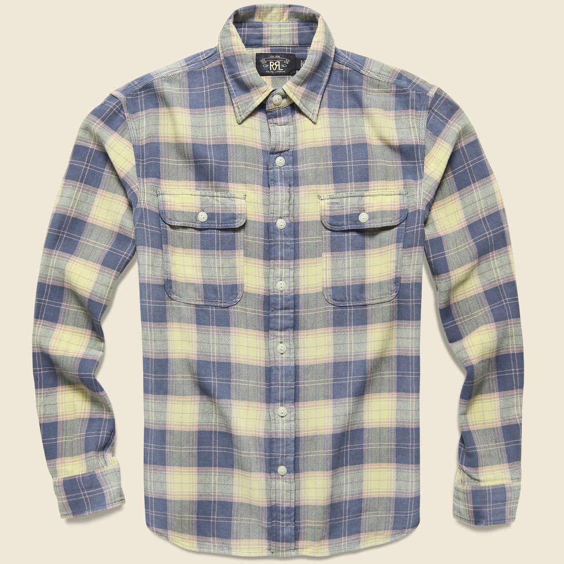 RRL Matlock Plaid Twill Workshirt - Blue/Yellow