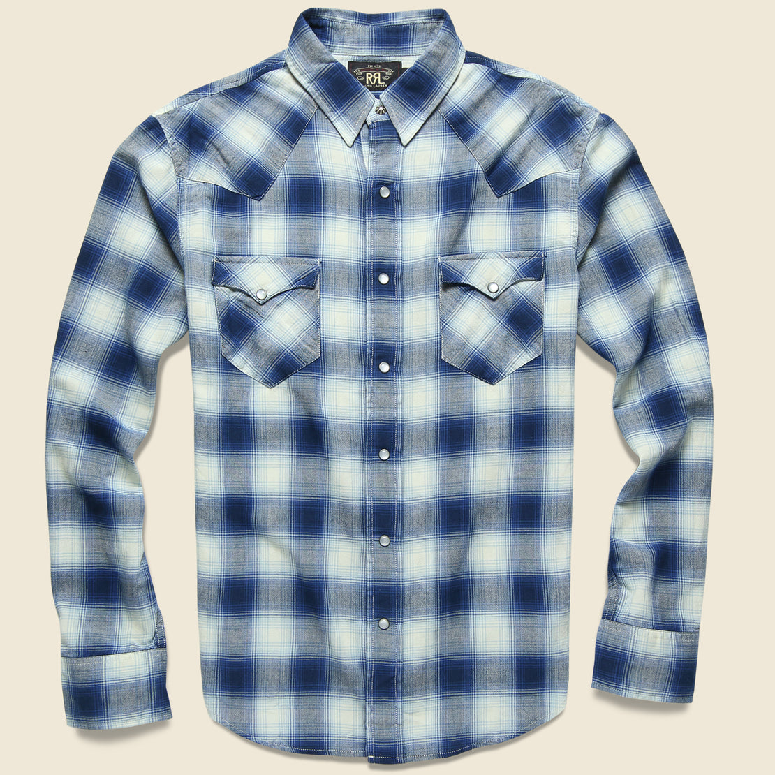 RRL Ombre Plaid Buffalo Western Shirt - Blue/Cream