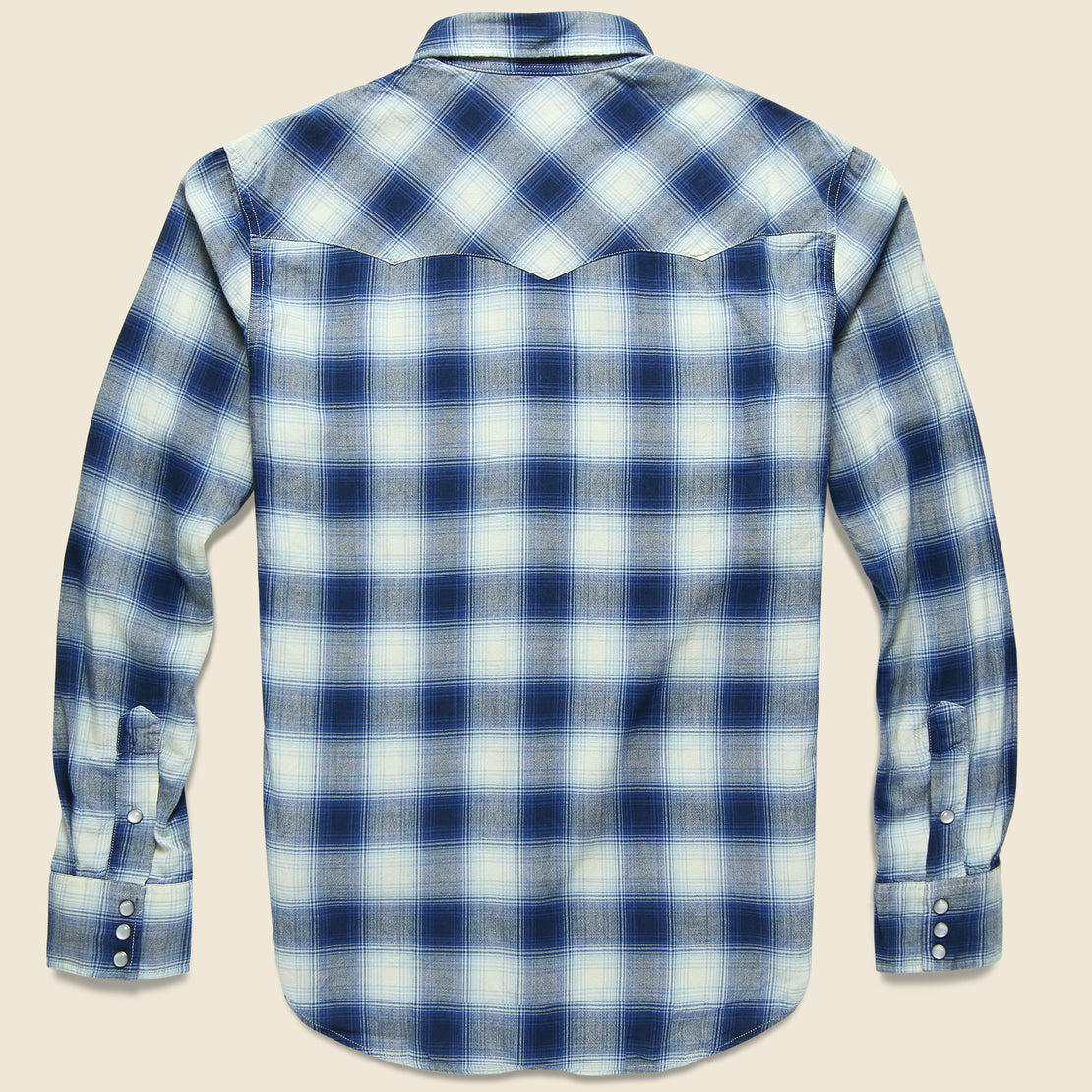 Ombre Plaid Buffalo Western Shirt - Blue/Cream