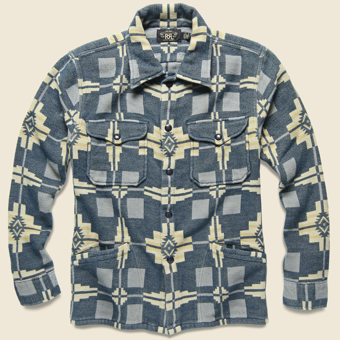 RRL Black Bear Jacquard Overshirt - Blue/Tan