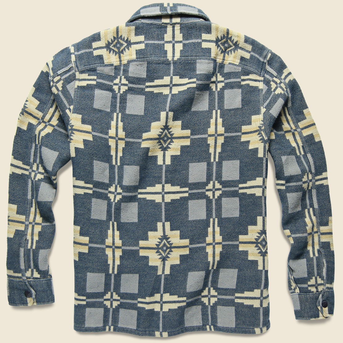 Black Bear Jacquard Overshirt - Blue/Tan