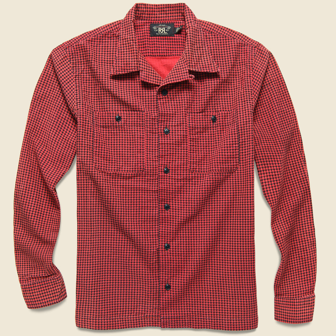 RRL Monterey Houndstooth Check Camp Shirt - Red/Sulphur Black