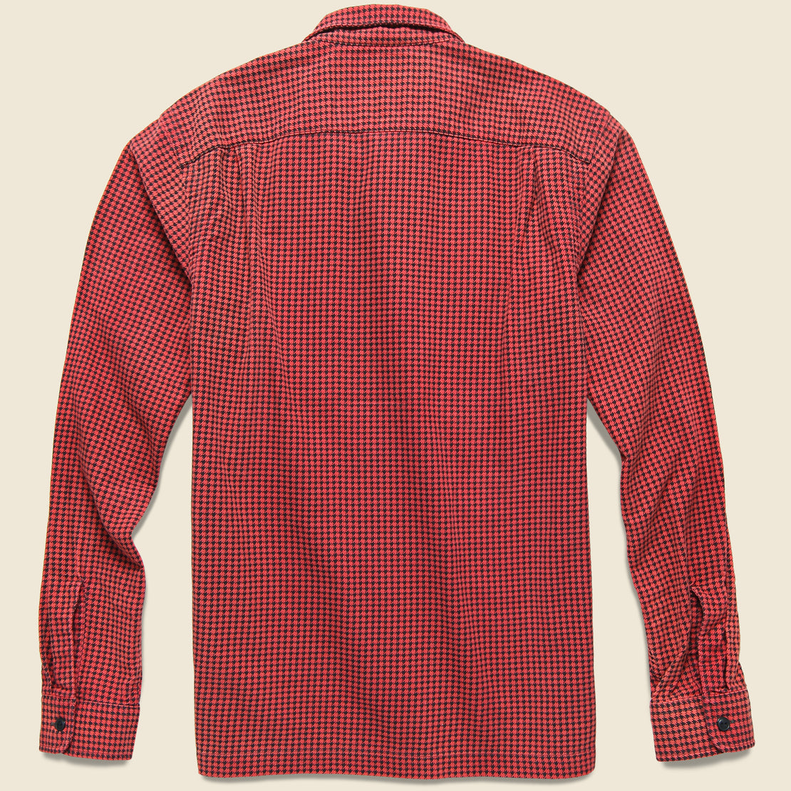 Monterey Houndstooth Check Camp Shirt - Red/Sulphur Black