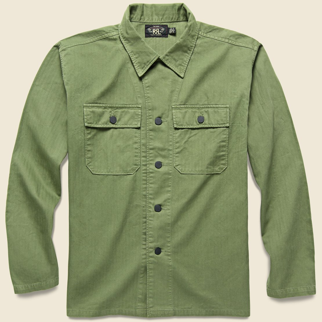 RRL Curtis Herringbone Twill Military Shirt - Olive Drab