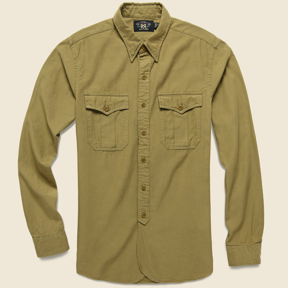 RRL Clayton Sateen Military Shirt - Desert Tan