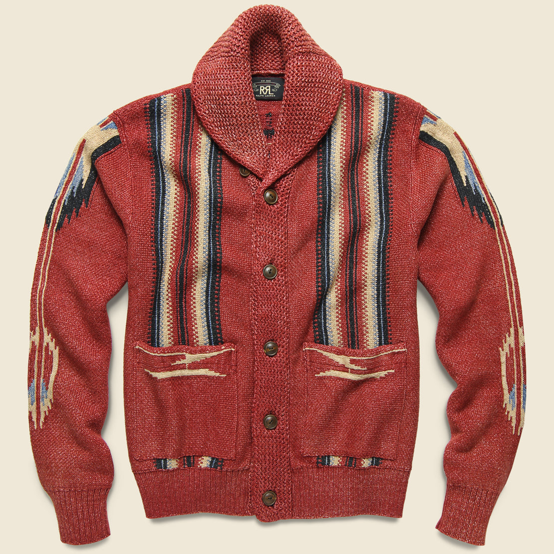 RRL Chimayo Shawl Collar Cardigan - Faded Red