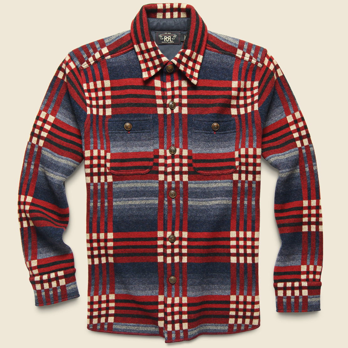 RRL Birdseye Jacquard Workshirt - Red/Blue