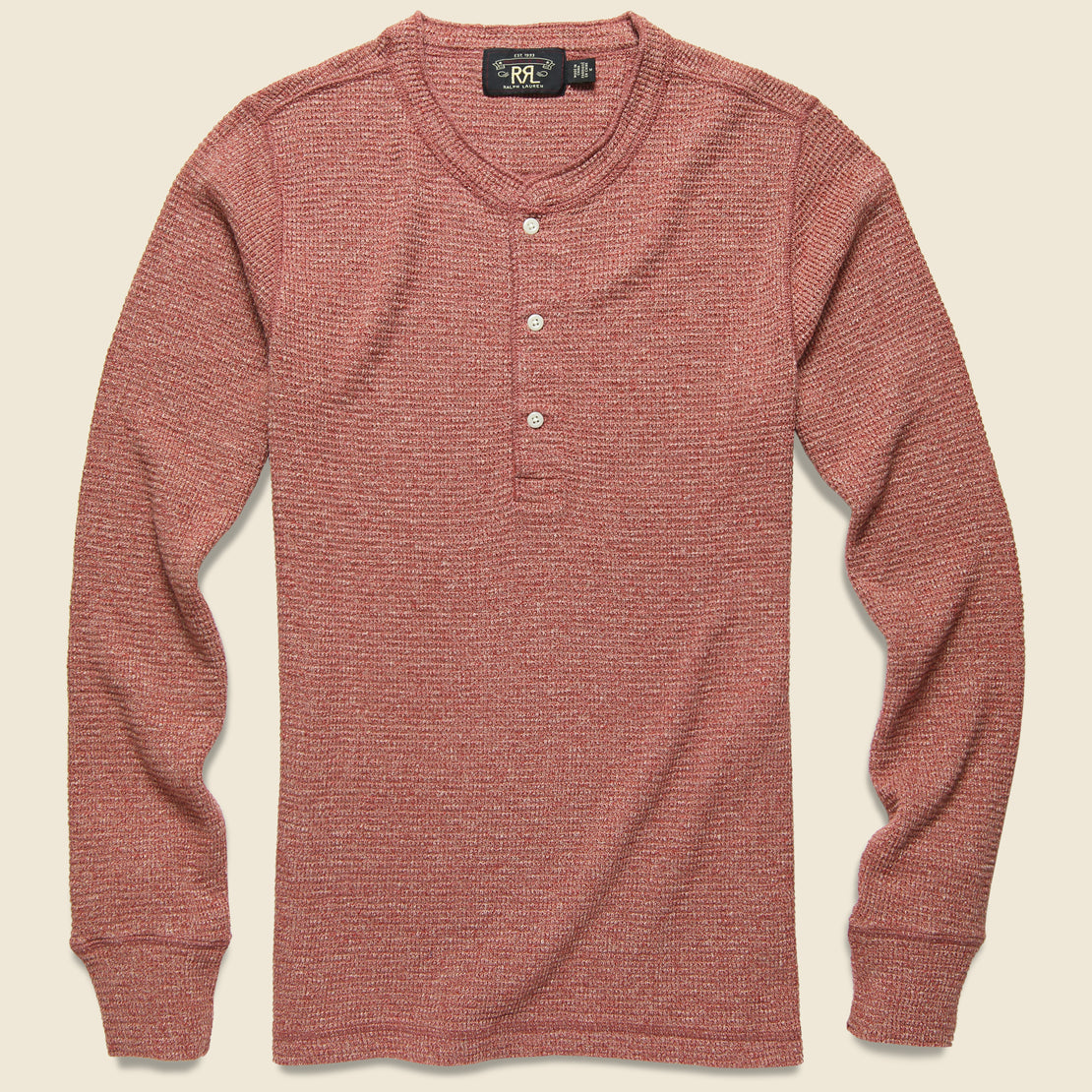 RRL Waffle Henley - American Red Siro Heather