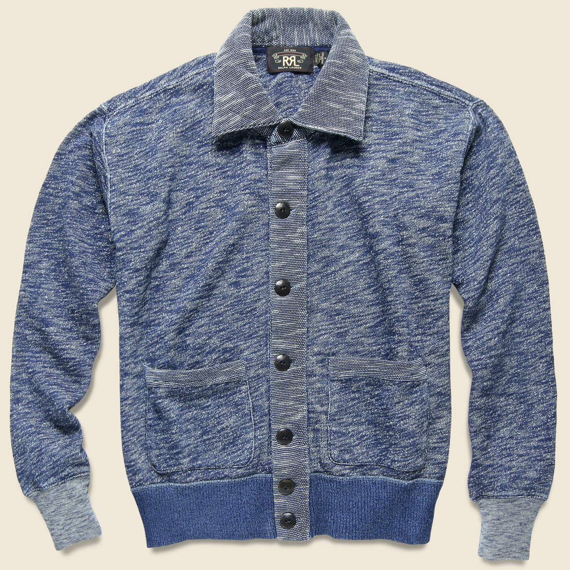 RRL Vintage Fleece Coach Cardigan - Indigo Heather