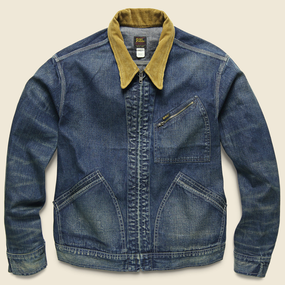 RRL Corduroy-Collar Denim Jacket - Haysville Wash