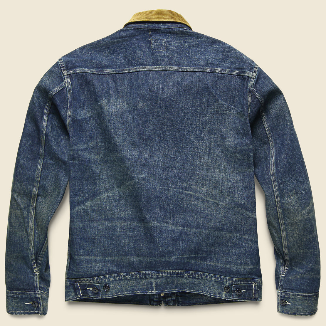 Corduroy-Collar Denim Jacket - Haysville Wash